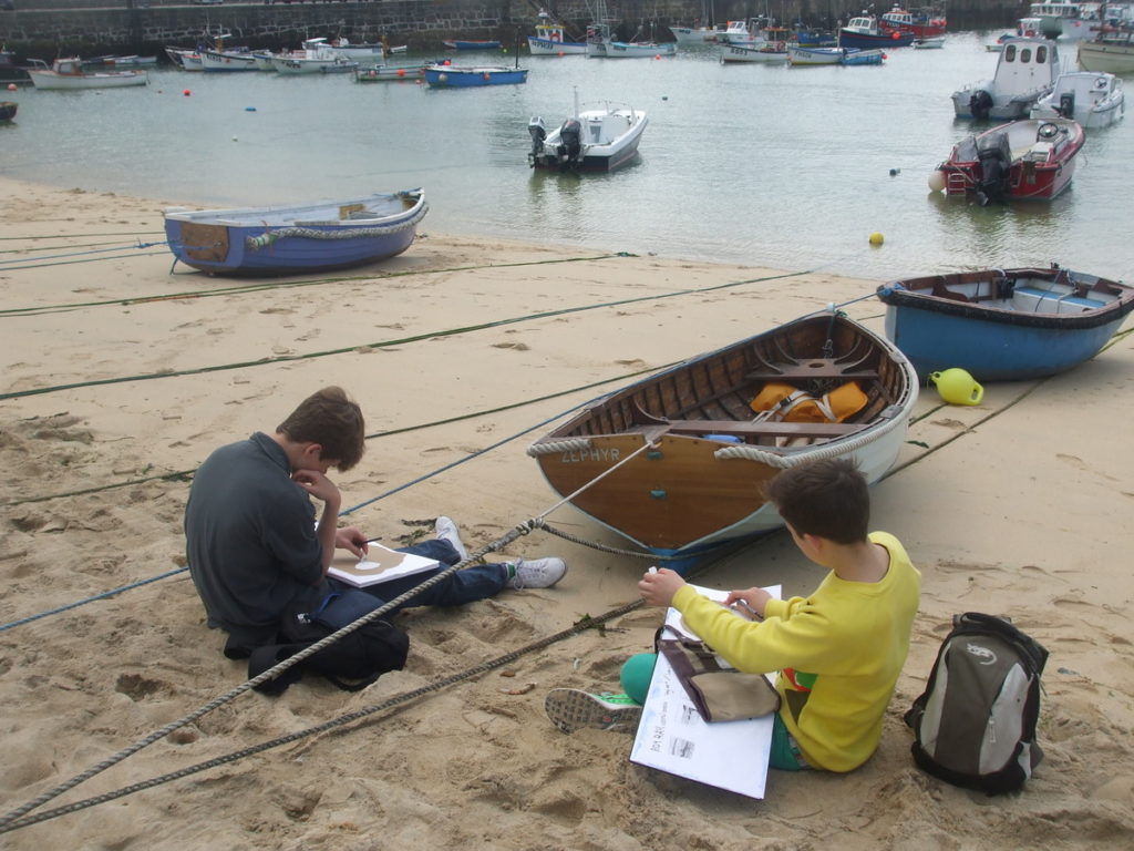 Sketching on the harbour